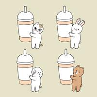 Cartoon cute animals and cup paper vector. vector