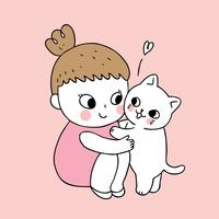 Cartoon cute girl and cat vector.