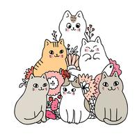 Cartoon cute cats and flower vector. vector