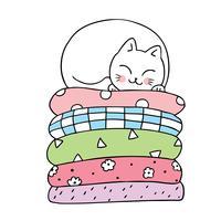 Cartoon cute cat sleeping vector.