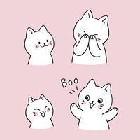 Cartoon schattige kat gluurt een boe-geroep vector.