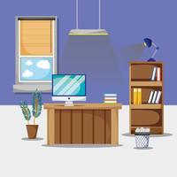 Escritorio con accesorios planos de oficina para trabajar.