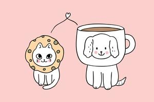 Cartoon cute dog and cat vector.