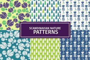Scandinavian Nature Patterns Set 01 vector