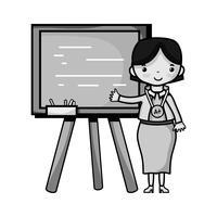enseignant en niveaux de gris enseignant la leçon de classe dans le backcoard