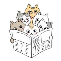 Cartoon cute cats reading news vector. vector