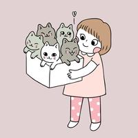Cartoon cute girl and cats vector.