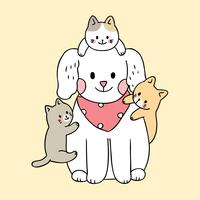 Cartoon cute dog and cats vector