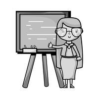 insegnante di scala di grigi che insegna lezione nel backcoard