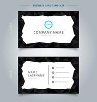 Creative business card and name card template Black Low polygon shapes border background.