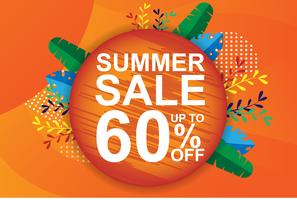 Summer sale banner, tag, web. Orange brochure and voucher. Holiday discount promotion and special price concept. Modern tropical palm, banana leaf. vector illustration design.