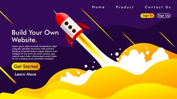 Web design and Landing page with a rocket Free Vector