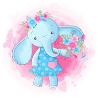 Dibujo lindo de la mano de la muchacha del elefante de la historieta. Vector