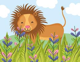 Dessin animé mignon lion de la faune