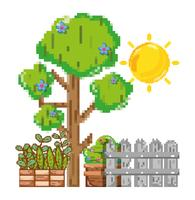 Pixelated garden scenery