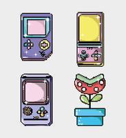 Conjunto de consola de videojuegos retro.