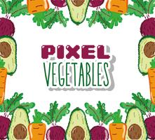 Pixel vegetables cartoons vector