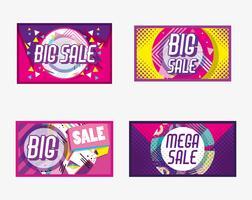Conjunto de cartaz de compras de grande venda