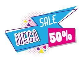 Mega sale discounts poster memphis style