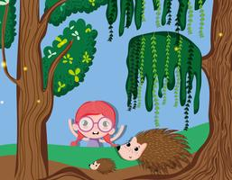 Bella ragazza nella foresta
