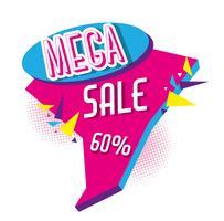 Mega vendita sconti poster stile memphis