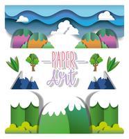 Paisaje de papel arte vector