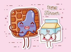 Dulce desayuno kawaii lindos dibujos animados vector