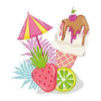 Desenhos animados deliciosos do gelado do verão