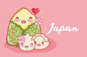 Nette kawaii Karikaturen der japanischen Gastronomie