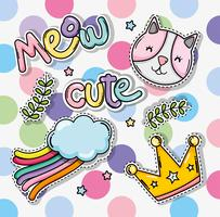 Set of cute and lovely cartoons vector