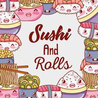Sushi and rolls cute kawaii cartoons