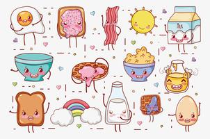 Sweet breakfast kawaii cute cartoons