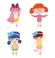 Set van schattige meisje tekenfilms