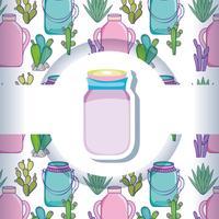 Einmachglas mit Musterhintergrund