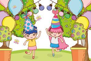 Chica en caricaturas de fiesta