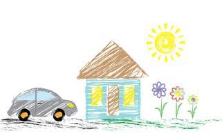 Lápis de desenho infantil com uma foto de uma casa, um carro. Pode ser usado como fundo, papel de parede, para decoração. Vetor