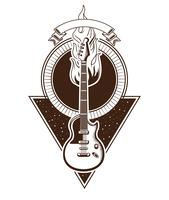 Emblema vintage rock and roll con disegni