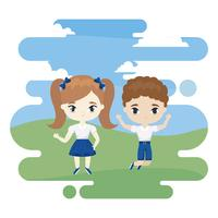 cute little students celebrating in landscape scene