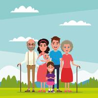 Family with kids cartoon