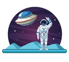 Astronauta en la caricatura de la galaxia.