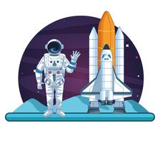 Astronaut in the galaxy cartoon vector
