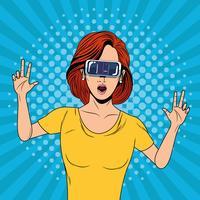 Femme avec une technologie de lunettes de réalité virtuelle