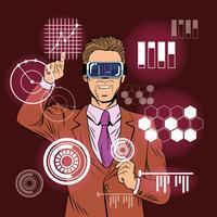 Caricature de pop art de réalité virtuelle homme d'affaires