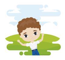 söt liten studentpojke i landskapsscen