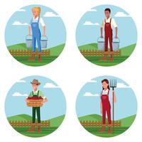 Set of Farmers working in farm cartoons