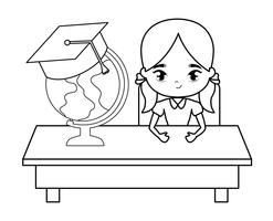 student girl sitting in school desk with supplies education
