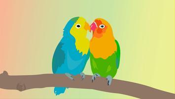 Mooie dwergpapegaaien die liefde vectorillustratie maken