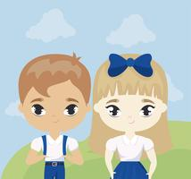 cute little students in landscape scene