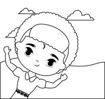 cute little student boy in landscape scene