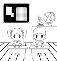 little students in the classroom scene